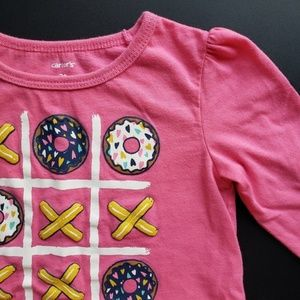 Donut Tic-Tac-Toe Pink Long Sleeve T-Shirt